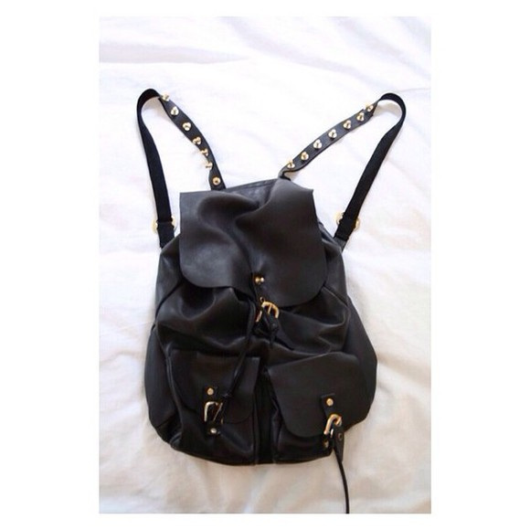 bag backpack black leather nieten gypsy boho soft grunge