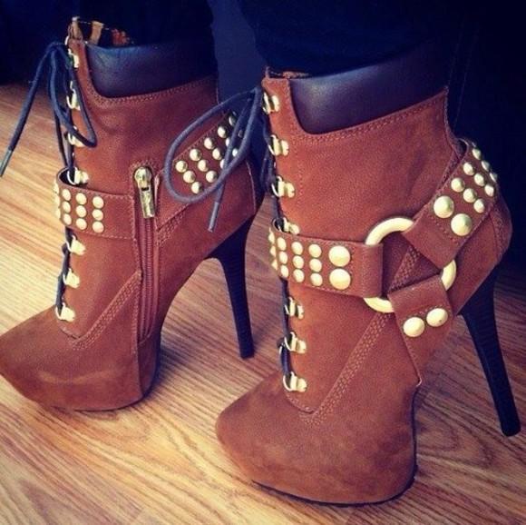 glitter timberlands high heels brown high heels