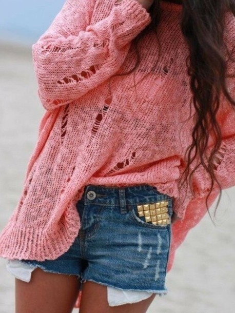 sweater thin summer jumper pink style shorts blue gold studs denim