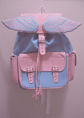bag,angel,backpack,pink,blue,pastel,angel wings,wings,bookbag,blue and pink,pastel colors,pastel bag,light blue,cute,pastel winged bag,grunge,baby pink,baby blue,angels wings,unicorn,kawaii,black and white,tumblr,pale,kawaii bag,beautiful,summer,soft,white,girly,instagram,rainbow