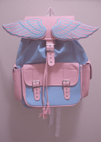 bag angel bagpack pink blue pastel angel wings wings book bag backpack blue and pink pastel colors pastel bag boho bag light blue cute grunge babypink baby blue angels wings bookbag