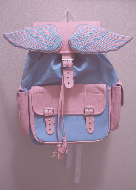 Bag Angel Backpack Pink Blue Pastel Wings