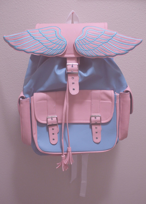 bag angel backpack pink blue pastel angel wings wings bookbag backpack blue and pink pastel colors pastel bag light blue cute pastel winged bag grunge baby pink baby blue angels wings unicorn kawaii black and white tumblr pale backpack baby blue bookbag kawaii bag beautiful summer soft beautiful white girly instagram rainbow