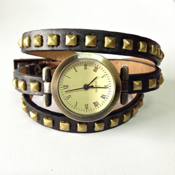 jewels wrap watch watches watch leather watch studded vintage style black freeforme
