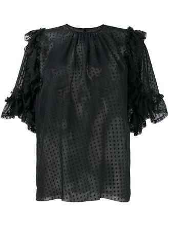 blouse sheer ruffle women cotton black silk top