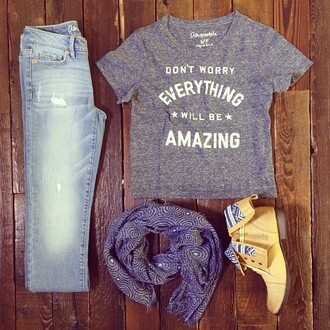 jeans purple designer scarf gray aeropostale shirt high waisted skinny light blue jeans shoes scarf shirt