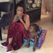 maxi dress,rihanna,sneakers,burgundy,velvet,dress,shoes,mother and child,suede sneakers