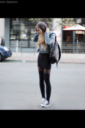 black long socks,denim jacket,pantyhose,beanie,black pencil skirt,jacket,skirt,black,blond,tights,converse,eastpak,blouse,bag,grunge,style,coat