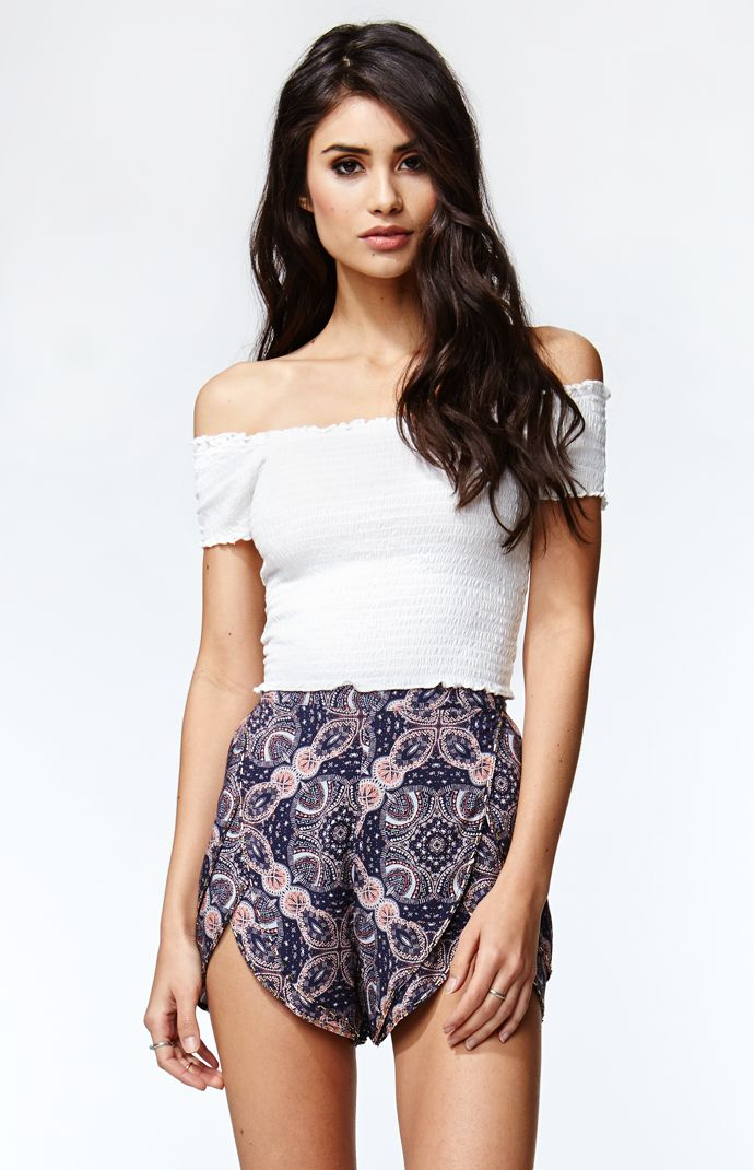 Kendall And Kylie Smocked Off The Shoulder Cropped Top At