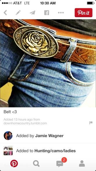belt rose belt buckle light brown leather belt