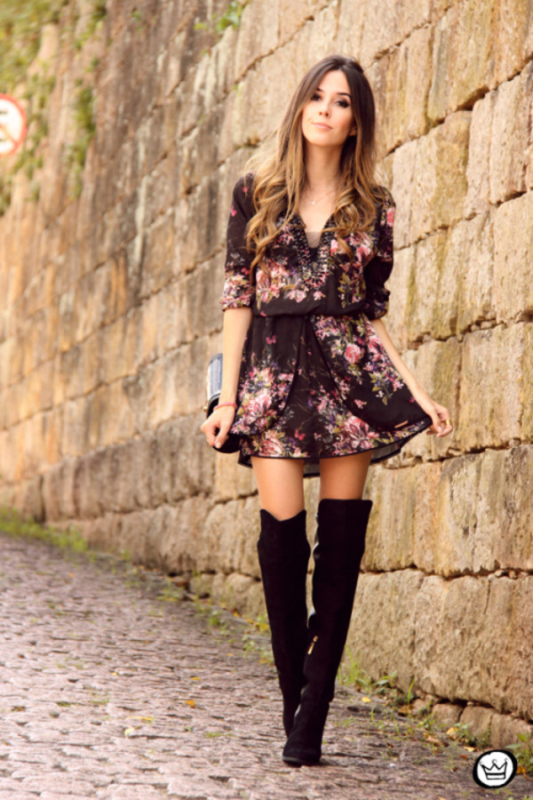 fashion coolture dress bag jewels shoes cute floral dress beautiful elegant dress floral summer dress boots