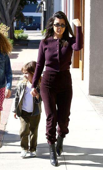 cardigan burgundy kourtney kardashian pants sweatpants sunglasses kardashians streetstyle