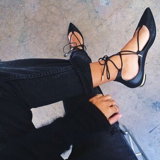 shoes black shoes strappy shoes flats shoes pointy toe flats lace black flats