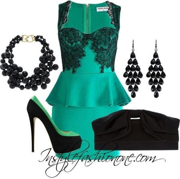 dress teal dress classy outfit peplum dress black suede clutch bag black high heels beautiful