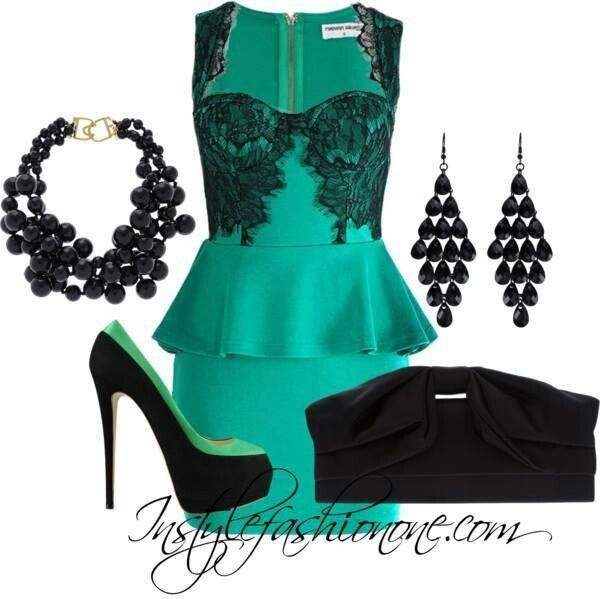 dress classy outfit teal dress peplum dress black suede clutch black high heels beautiful