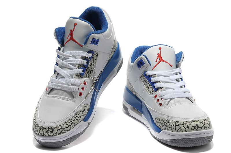 Women Air Jordans 3 White/True Blue Cement