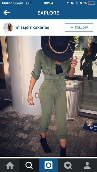 jumpsuit hat accessories outfit outfit idea fall outfits cute outfits spring outfits booties high heels heels
