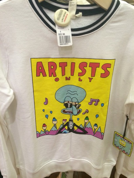 shirt sweater spongebob squidward artist white sweater
