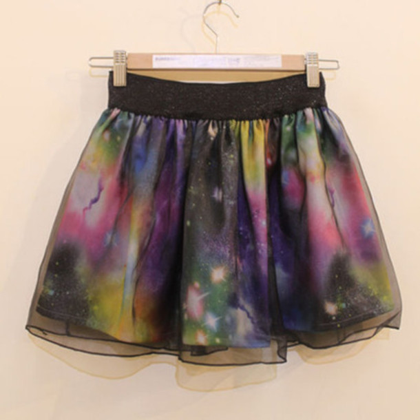 skirt galaxy print cute kawaii skater