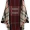 Red khaki batwing sleeve plaid cardigan -shein(sheinside)