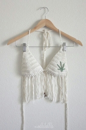 top,white,knit,fringes,bralette,bikini,marijuana,weed,crochet