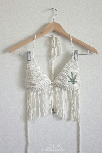 top white knit fringes bralette bikini marijuana weedleaf crochet
