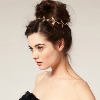 jewels headband gold gold leaves leaves golden bun hair bun autumn fall rose rose gold prom beauty