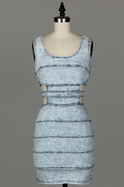 Denim Cutout Dress - Modern Edge Clothing