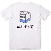 t-shirt,japanese,milk,shirt,kanji,white japanese milk,japan,kawaii,grunge