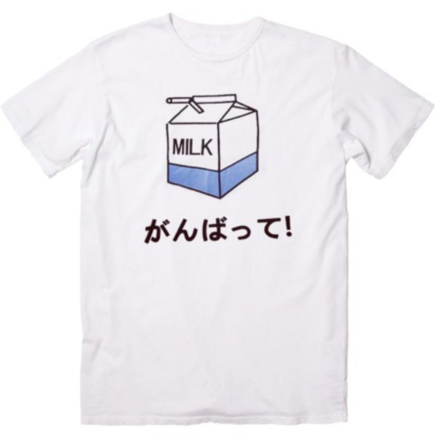 ec4022b43 t-shirt, japanese, milk, shirt, t-shirt, kanji, white japanese milk ...