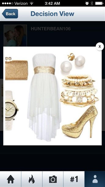 dress cream high low dress gold sparkle belt