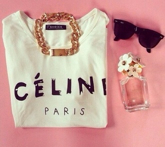 t-shirt cute oversized t-shirt white celine paris shirt