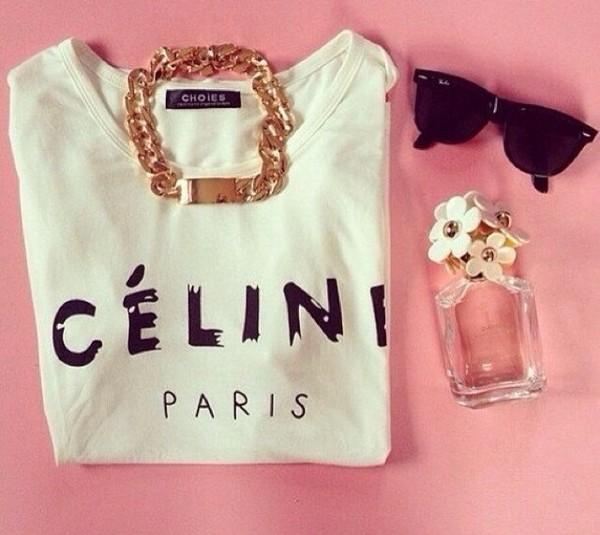 t-shirt cute t-shirt oversized t-shirt white celine paris shirt