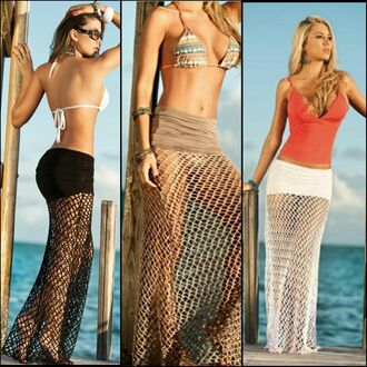skirt swimsuitcoverup mesh crochet crochet skirt fishnet shirt maxi cover up swimwear