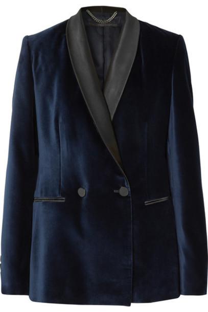 Stella McCartney blazer blue velvet satin jacket