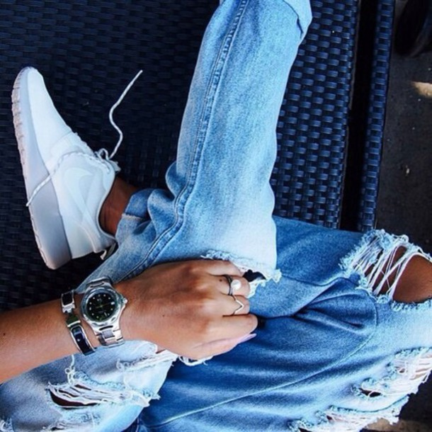 shoes sneakers style jeans ripped jeans ripped ripped denim ripped boyfriend jeans boyfriend jeans backless nike shoes nike watch watch for girls accessories blue jeans pants