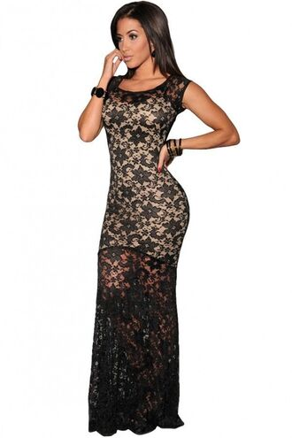 dress black maxi dress black lace black and cream dress lined dress cap sleeves evening gown formal gown bodycon maxi www.ustrendy.com