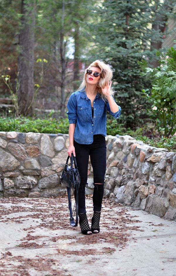 love maegan blogger jeans sunglasses bag shoes