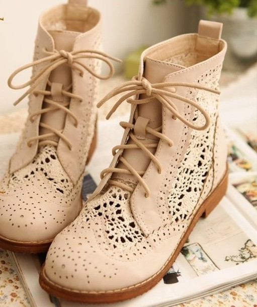 Shoes: boots, cream, lace, camel, beautiful, cute, vintage, lace ...