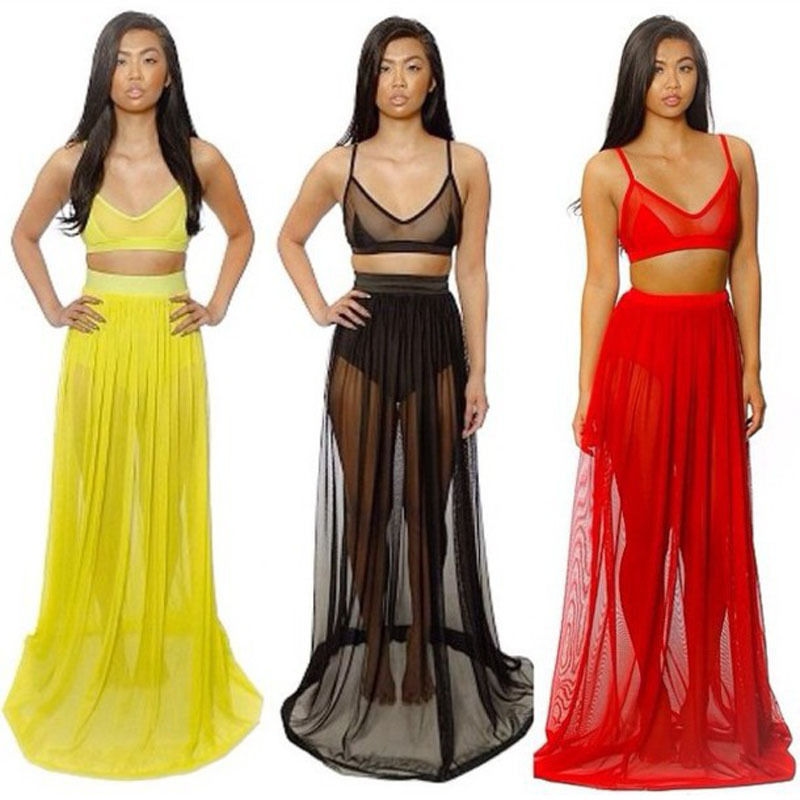 2014 New Womens Celebrity Maxi Dress Summer Two Pieces Chiffon Swim Wear Dress | eBay