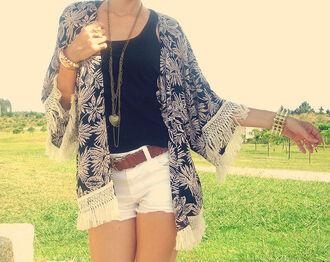 cardigan fringes tassel kimono jacket coat top vintage retro country boho bohemian hippie indie