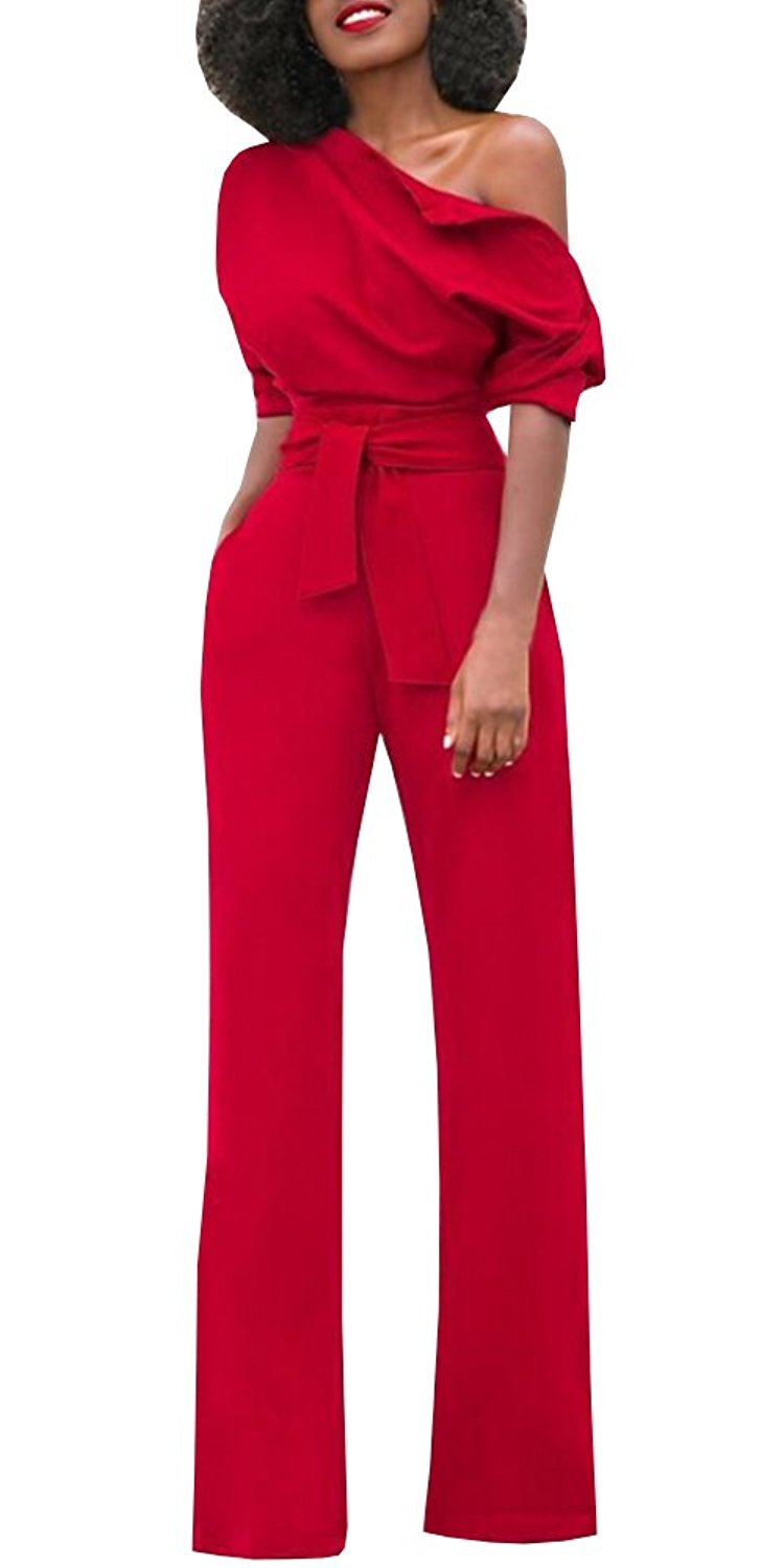 Amazon.com: Bigyonger Women's Sexy One Off Shoulder Jumpsuits Wide Leg Long Romper Pants with Belt: Clothing