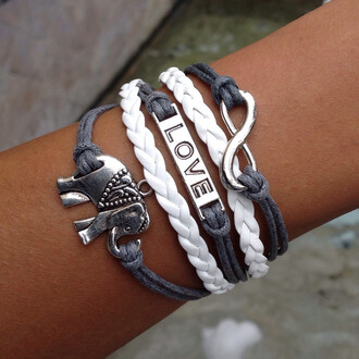 jewels bracelets elephant love infinity layered white grey braided