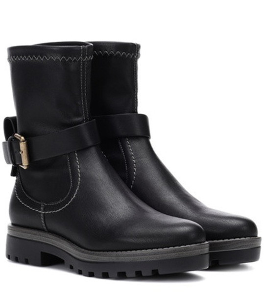 See By Chloé Dakota leather ankle boots in black
