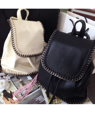 bag backpack black white back to school trendy cool fashion style faux leather it girl shop