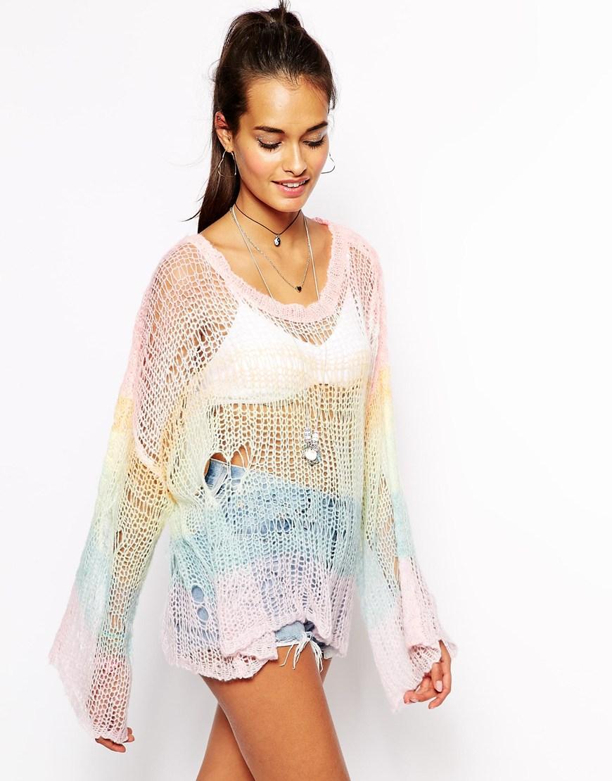 Wildfox rainbow open weave jumper at asos.com