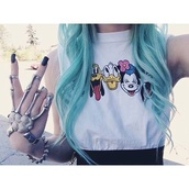 shirt,disney,disney sweater,mickey mouse,mouse,cartoon,cute,punk,cool,grunge,hippie,peace,peace sign,minnie mouse,donald duck,duck,animal,pluto,goofy,jewels,t-shirt,tank top,skeleton,top,donald,blue hair,haut,white,blue,colored hair,hand jewelry,long hair,beautiful,anime,mini mouse,smiley,cool shirts,soft grunge,pastel goth,pastel,pale grunge,gloves,hand chain,disneyland