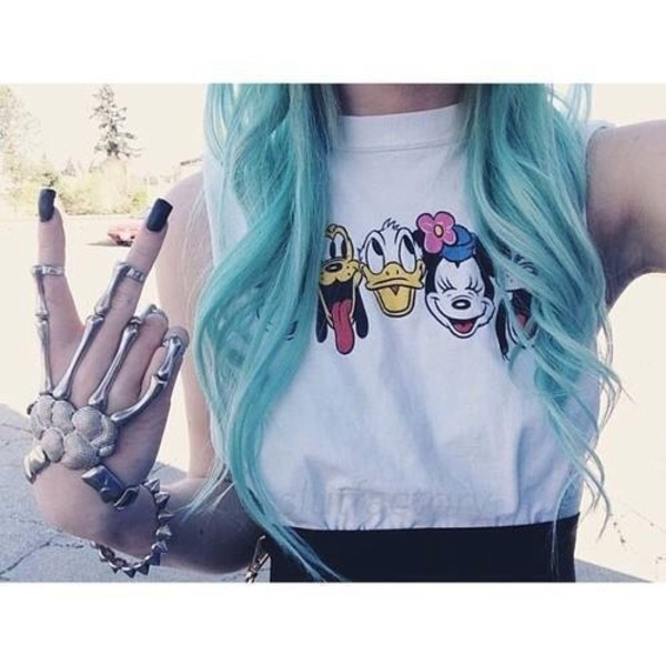 shirt disney disney disney sweater mickey mouse mickey mouse mouse cartoon cute punk cool grunge hippie peace peace sign minnie mouse donald duck duck animal pluto goofy jewels t-shirt tank top skeleton top donald blue hair haut white blue blue hair colored hair hand jewelry long hair beautiful anime mini mouse smiley cool shirts soft grunge pastel goth pastel pale grunge gloves hand chain minnie mouse disneyland