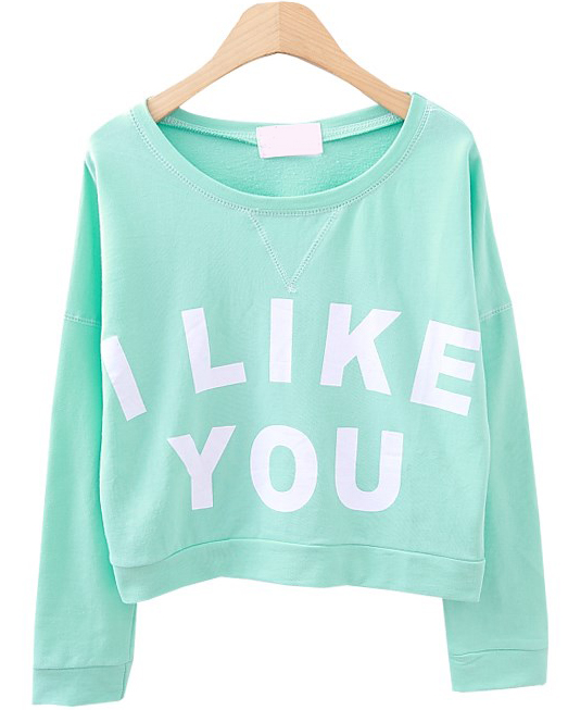 Green long sleeve i like you print crop sweatshirt