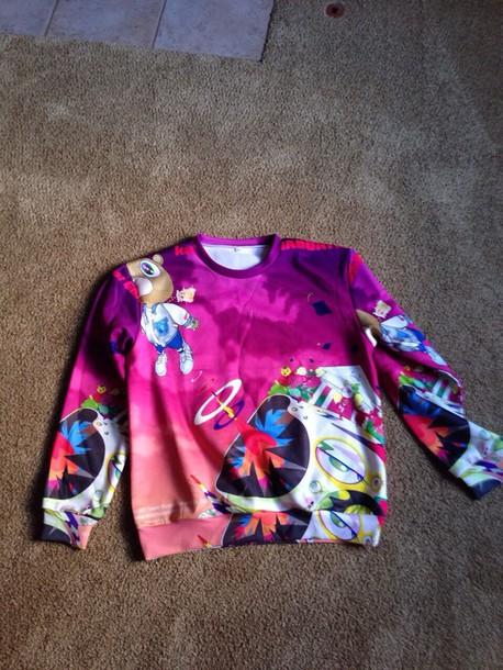 sweater kanye west hip hop rapper rap sweatshirt i need this help clothes kanye west hip hop swag drop style crewneck crewneck hipster purple pink bear